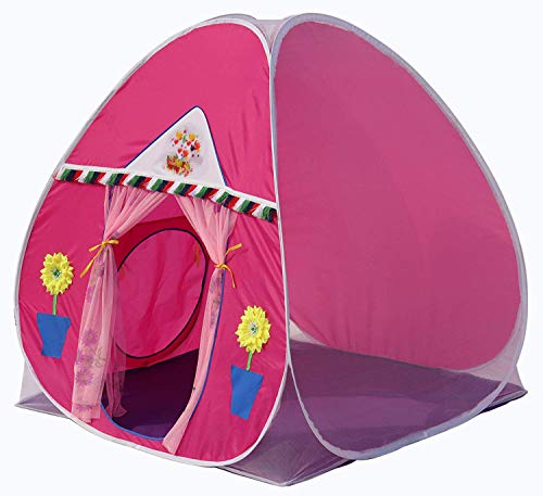 Homecute Foldable Popup Kids Play Tent House for 3 Year to 12 Years 110 x 110 x 120 cm -Pink