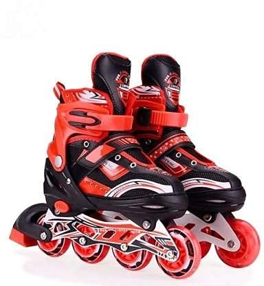 MR Adjustable Inline Skates for Kids with Full Light Up Wheels , Outdoor Roller Skates for Girls and Boys Age Group 6-15 Years Pack of 1 (Red)