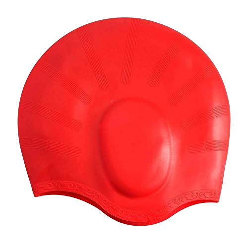 Galaxy Hi-Tech® Long Hair Swim Cap,Waterproof Silicone Swimming Cap for Adult Woman and Men,Keeps Hair Clean with Ear Protector (red)