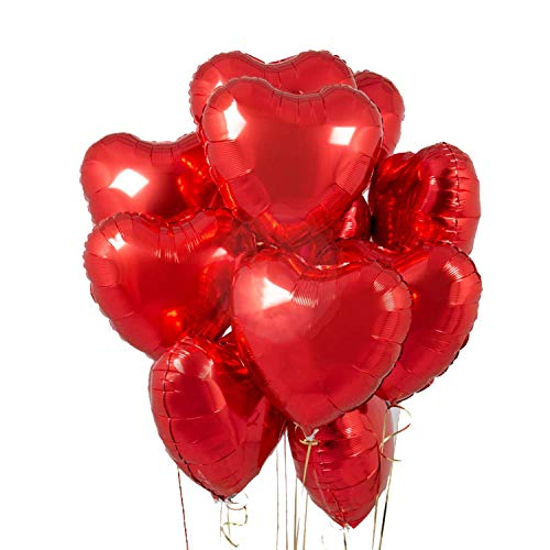 Party Propz 5 pcs 18inches Red Heart Balloons, Heart shaped Balloons foil Love Balloons for Valentine Decoration /Wedding / Balloons / Engagement / Bridal Shower Decoration Party Balloons