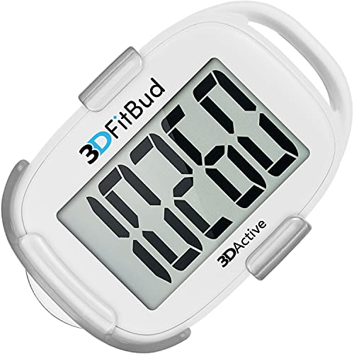 3DActive 3DFitBud Simple Step Counter Walking 3D Pedometer with Clip and Lanyard, A420S