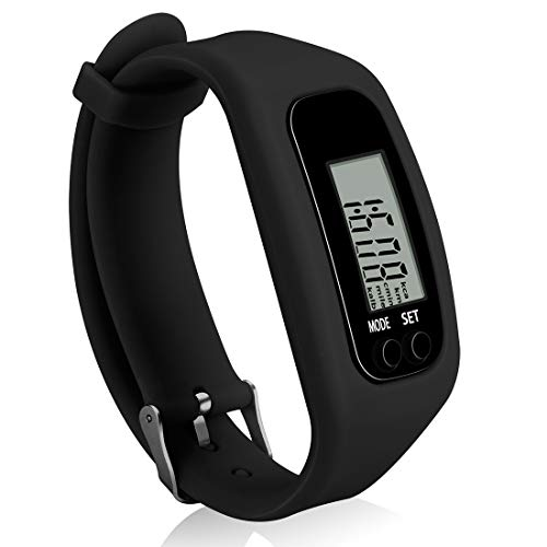 Bomxy Fitness Tracker Watch ,Simply Operation Walking Running Pedometer with Calorie Burning and Steps Counting Easy use Step Tracker (Black-ho88)