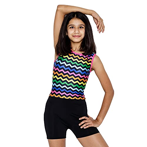 IKAANYA Girls Unitard/Biketard/Leotard with Shorts for Gymnastics   Dance   Acrobatics   Fitness in Many Colours and Patterns (3-12 Years) (8-10 years/140, Ribbon Stripe)