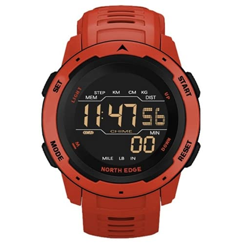 eOnz North Edge Mars 1.77' Digital Watches with FSTN Low Light Visibility for Men & Women with Alarm Pedometer, Outdoor Sports, 5 ATM Waterproof, Shockproof, Pedometer, Timer, Calory Count