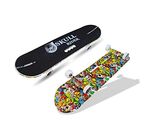 jaspo Skull Rider Fiber Skateboard Suitable for Age Group 8 Years and Above Skateboard (Multicolour, 30 x 8 inches)