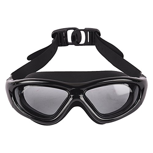Arrowmax Wide lense Silicone Swimming Goggle - Anti Fog lense Promotes Visibility Under Water   Ideal for Men, Women and Kids   Comfortable and Skin Friendly Material - ASG-9100 (Black)