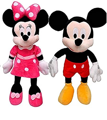 Odin Pack of 2 Kids Favourite Combo for Kids Mickey Mouse and Minni Mouse Plush Soft Toy 40cm Height Multi Colour