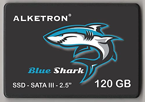 ALKETRON BLUE SHARK SSD   120GB   240GB   480GB   1TB   with High Speed Super Boot 3D NAND Flash Memory Technology   2.5'- SATA3   for Laptop, Desktop and Gaming PC (120 GB)