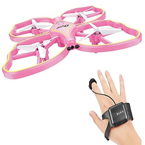 VRION TOY DRONE AERO CRAFT compact Induction Drone Butterfly Drone with 3 Modes of operations - Gravity sensor, Remote control and Palm sensor I NO CAMERA I Pack of 1 I PINK COLOUR
