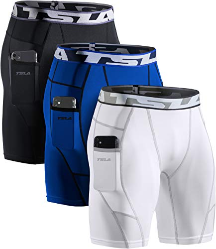 TSLA Men's Athletic Compression Shorts, Sports Performance Active Cool Dry Running Tights, Pocket 3pack(mus74) - Black/White/Blue, XX-Large
