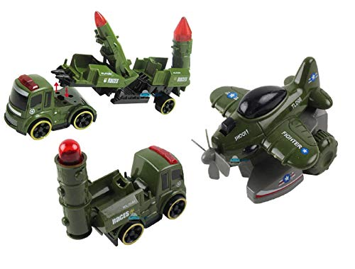 FunBlast Battlefield Vehicles Play Set - Push and Go Friction Power Fighter Jet Toy, Missile Launcher Toy, Truck Toy for Kids - Multicolor