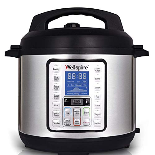 Wellspire Multi Cooking Pot Smart Electric Pressure Cooker (6 Litres) with Instant 14-1 Single-Touch Functions and 7 Free Accesories (Silver)