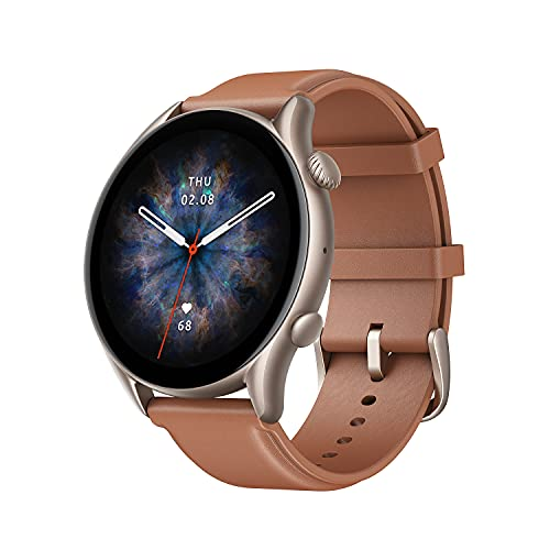 """Amazfit GTR 3 Pro Smart Watch with Alexa, GPS, WiFi, 12-Day Battery Life, Fitness Tracker 150 Sports Modes, 1.45""""AMOLED Display, Blood Oxygen Heart Rate Tracking, Waterproof (Brown Leather)"""