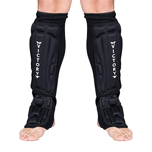 Kickboxing, Muay Thai MMA Martial Arts Shin Guards, Instep Guard Sparring Protective Leg Shin Foam Kick Pads for Kids and Adults (X-Small)