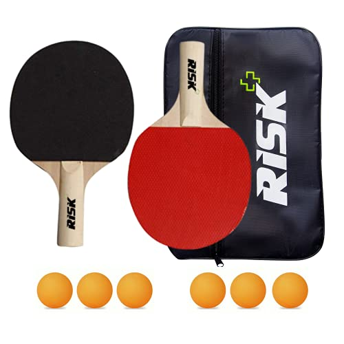 RISK+ Table Tennis Bat and 6 Ping Pong Balls with Zip Cover (Set - 2)