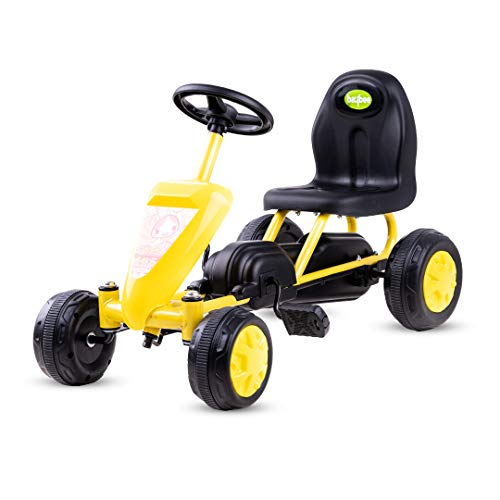 Baybee Kids Mini Cruiser Pedal Go Kart Racing Ride On Toy Car for Baby with Curved Seat Baby For Boys & Girls Age 0-2 Years, Yellow