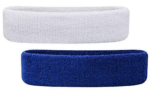 CASHWIN Workout Headband for Women & Men Exercise for Sports Fitness Band Elastic Stretchy (Pack of -2) (Blue , White)