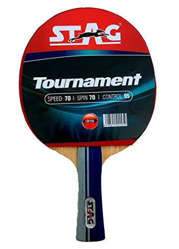 STAG Beginner ITTF Approved Rubber Tournament Table Tennis Racquet, Multicolour, 156 grams