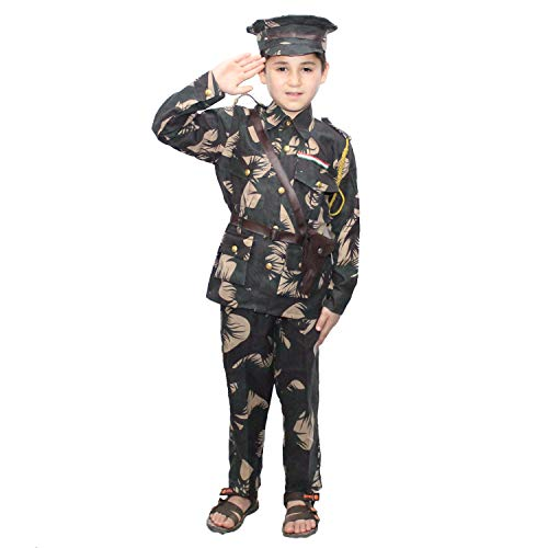Kaku Fancy Dresses Our Helper/National Hero Indian Soldier Military Costume -Green, 5-6 Years, for Boys & Girls