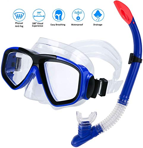 Prakal Snorkel mask with Dry top, Anti-Fog and Anti-Leak Snorkel Set, Diving mask with Waterproof Equipment for Adults and Children