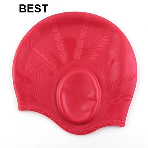 sufi world Long Hair Swim Cap,Waterproof Silicone Swimming Cap for Adult Woman and Men,Keeps Hair Clean with Ear Protector(Dark RED)