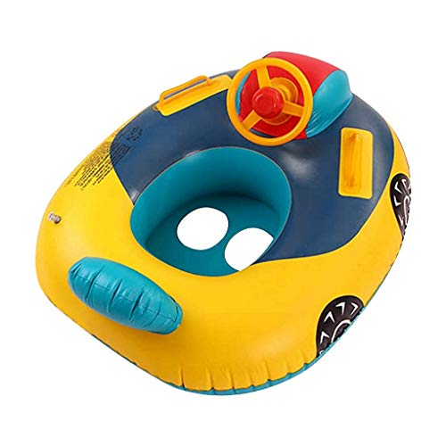 Baby Swimming Pool Float, Cute Car Design Kids Toddler Inflatable Summer Beach Floatie Boat Swim Tube Ring with Handles Safety Seat Pool Lake Air Bed Floating Mattress Raft Lounge for Girls Boys 1-5Y