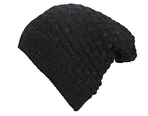 FabSeasons Acrylic Woollen Slouchy Unisex Beanie and Skull Cap with Faux Fur on The Inner Side (Black, Free Size)