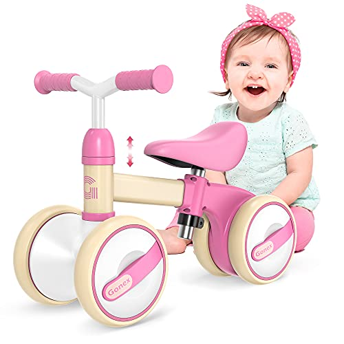 Gonex Baby Balance Bikes Bicycle Children Walker for for 1-3 Year Olds Boys Girls, Adjustable Seat Toddler Ride Outdoor Toys, No Pedal 4 Wheels Infant Bike First Birthday Gifts (Pink)