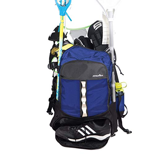 Athletico Lacrosse Bag - Extra Large Lacrosse Backpack - Holds All Lacrosse or Field Hockey Equipment - Two Stick Holders and Separate Cleats Compartment (Blue)