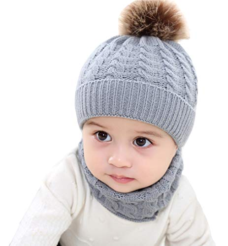 Iba & Isba Baby and Kids Winter/Woollen Caps with Scarf and Pom Pom Beanie Caps (Grey, Age Group 0-2 Yrs)