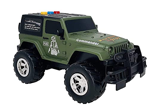 CloudConcept™ Unbreakable Jumbo Size PubG Commander Jeep Friction Powered Vehicle for Kids | Battery Operated with Flashing Lights & Sound