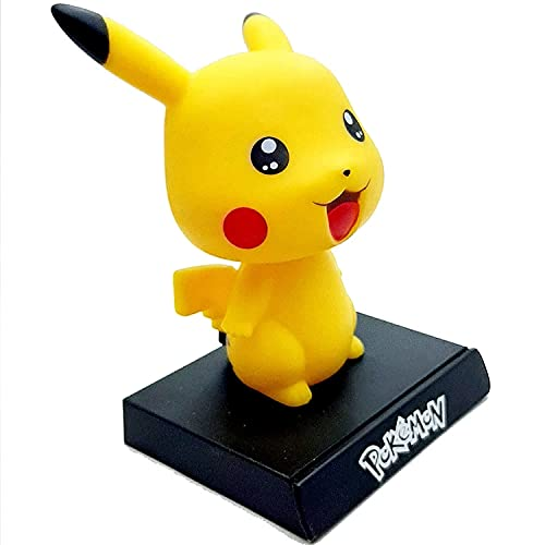 AUGEN Super Hero Pikachu Pokemon Action Figure Limited Edition Bobblehead with Mobile Holder for Car Dashboard, Office Desk & Study Table (Pack of 1)