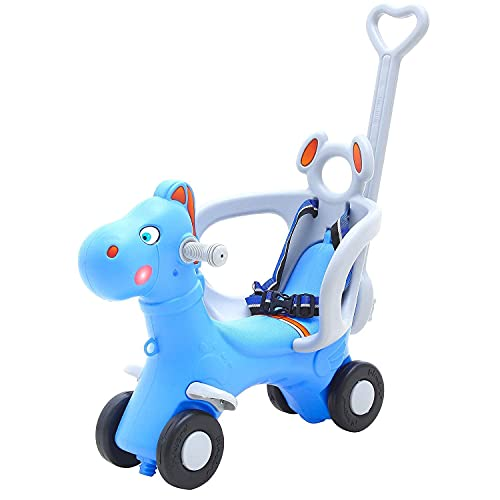 GoodLuck Baybee Baby Horse Rider for Kids Ride On Horse with Push Handle for Safe Ride Toddler Plastic Baby Horse Comfortable seat 1-5 Years Indoors & Outdoors Kids-Suitable for Boys & Girls (Blue)
