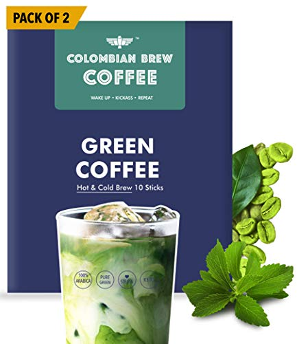 Colombian Brew Coffee Powder Green Coffee Powder, Hot & Cold Brew 10 Sticks, Pack of 2 (for Weight Loss)