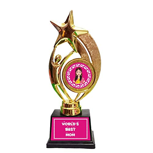 Family Shoping Alloy, Hard Plastic Worlds Best Mom Trophy Medal Award for Mother (Gold)
