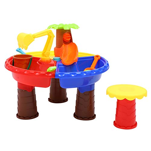 Toyvian Kids Sand Water Table Beach Play Activity Table Sandbox Toys Bucket Beach Shovels Educational Toy for Outdoor Indoor Toddlers Children Molding Sand Castles