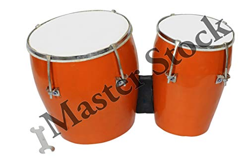 Master Stock 7 Inch Professional Two Piece Hand Made Wooden Bango Drum Set (Brown)