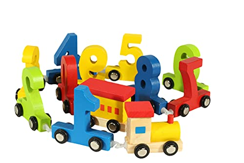 SureShip Wooden Train Set for Kids Which is A Digital Model Toy Train Includes 12 Pieces of Number Toy Train with Track Set Toddler Mechanic Toys, Preschool Building Sets, Counting Toy