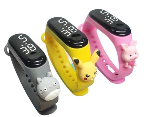 Titox Creative Design Color Band with Cartoon Latest Collection Touch Button Watch for Creative Touch Boys and Girls Digital Watch (Pack of 3, Random Colour)