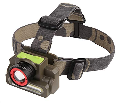 DOCOSS-2 in 1 Ultra Bright -Zoomable Waterproof Cree Rechargeable Headlamp Headlight Head Torch Weatherproof LED Flash Light Spotlight Rechargable for Camping Cycling Caving Hiking Hunting Trekking