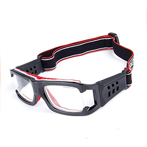 CSYSX Sports Goggles Anti-Collision Safety Protective Glasses with Adjustable Elastic Strap for Basketball Football Soccer Squash Tennis Cycling Eyewear Basketball Glasses (Black red)