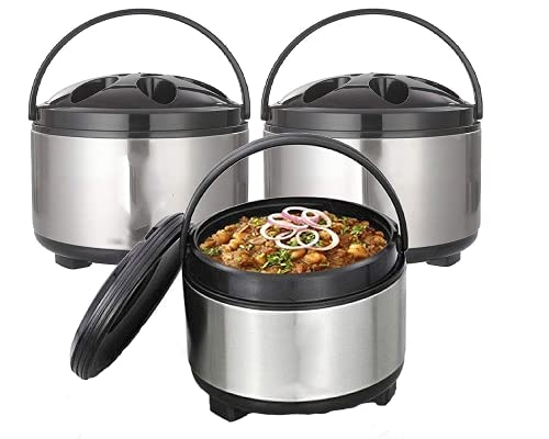 Anekants Diamond Stainless Steel Casserole with Lid, Set of 3 (1400ml/1800ml/2700ml)