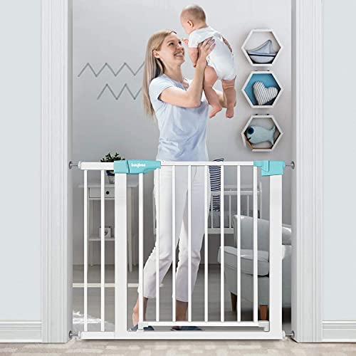 Baybee Auto Close Safety Baby Gate Auto Close Safety Baby Gate, Extra Tall and Wide Child Gate, Easy Walk Thru Durability Dog Gate for The House, Stairs, Doorways,Green,Pack of 1