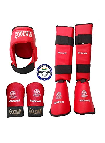 Goodwin Kai Approved Karate Safety Kit, Pack of Head, Shin Guard and Hand Gloves (Red, Large)