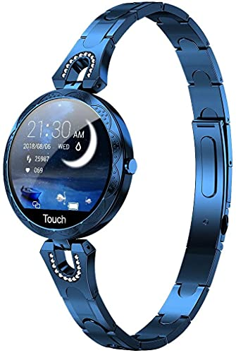 Women Smart Watch, Smartwatch for iOS Android iPhone Samsung Phones. Fitness Tracker with Heart Rate Blood Pressure Waterproof Bluetooth Pedometer Sleep Activity Tracker, Luxury Smartwatch (Blue)