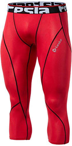 TSLA Men's Compression Tight Stretchable Pants Cool Dry Sports Tights, Zero(p15) - Red, L