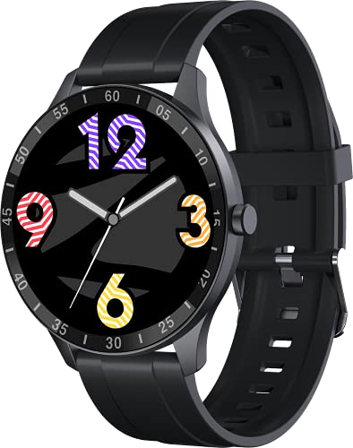 Zebronics Zeb-FIT3220CH Smart Fitness Watch with Full Touch TFT Round Display, Metal Body, Built-in Games, 7-day Data Storage, SpO2, BP & Heart Rate Monitor, IP68 Water Resistant (Black Rim + Black Strap)