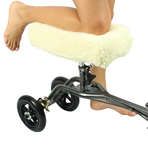 Knee Walker Pad Cover by Vive - Best Faux Sheepskin Pad for Rolling Scooter - Plush Synthetic Sheepette - Greater Air Circulation, Helps Comfort Knee During Injury - Vive Guarantee