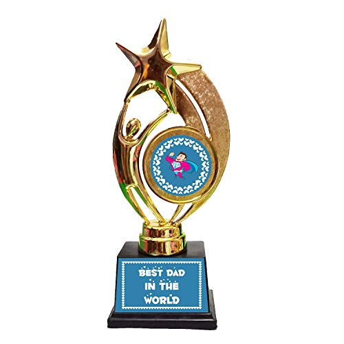 Family Shoping Alloy And Metal Best Dad In The World Trophy Medal Award For Dad Fathers Day Special (Blue)