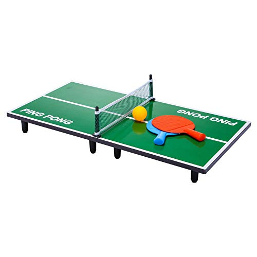 Mini Table Tennis Game T T Table mid Sized Indoor Game Foldable Original Wooden Laminated top 2 Rackets 1 Tennis Ball and 1 net, Size 90 cm * 40cm * 1.2cm for All Ages